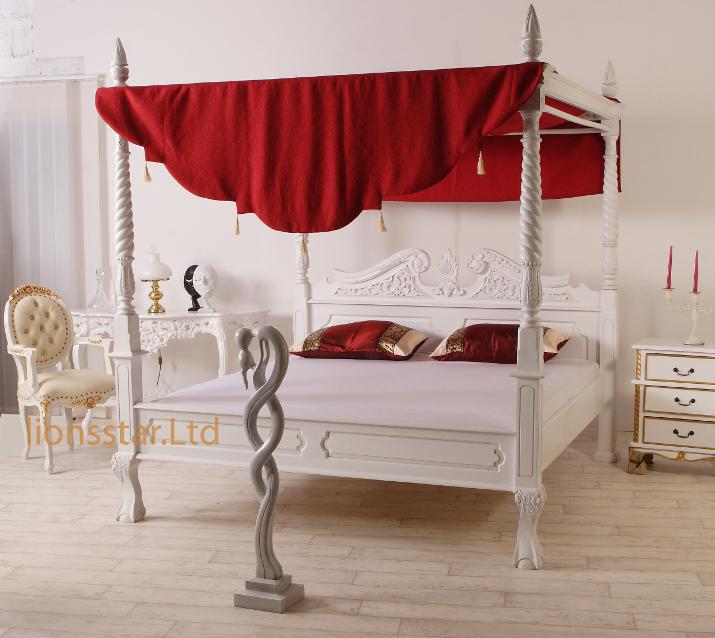 himmelbett weiss mahagoni barock ebay. Black Bedroom Furniture Sets. Home Design Ideas